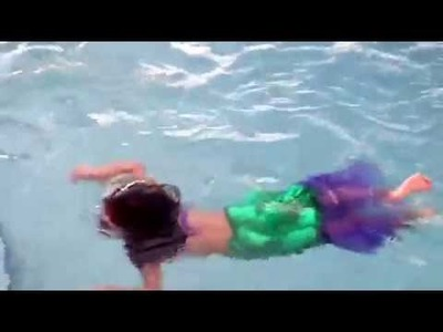 Lilian Truong swimming as Ariel from the Little Mermaid. DIY costume