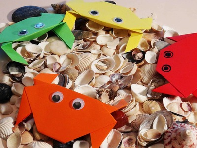 Paper craft for kids. Easy origami for kids. Origami crab.