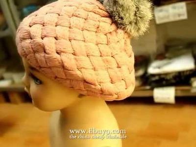 Rabbit fur balls baby wool cap