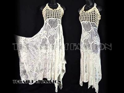Vintage Crochet dresses - white crochet dress - black crochet dress