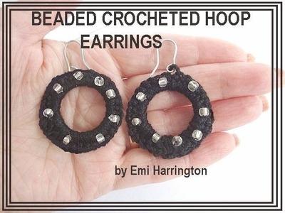 BEADED CROCHETED HOOP EARRINGS