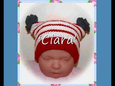 Ciara Patriotic Multisize Baby or Reborn Doll hat Aran and DK Yarn Knitting Pattern