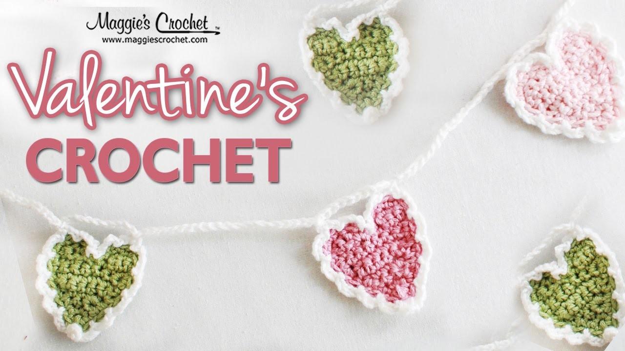 Crochet Heart Cluster Stitch Edging - Left Handed
