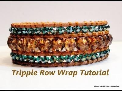 DIY-Triple Row Leather Wrap Bracelet- Part 1