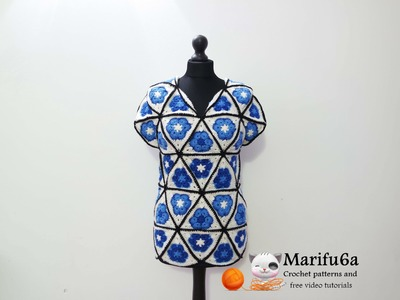 How to crochet blue tunic motif african flower free pattern tutorialcómo de la túnica