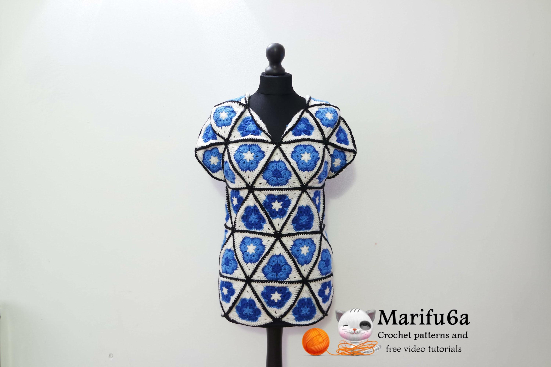 How to crochet blue tunic motif african flower free pattern tutorialcómo de la túnica