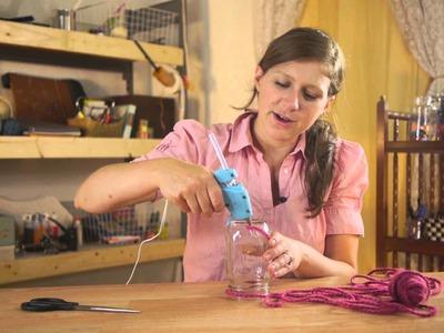 How to Make Mason Yarn Vases : Mason Jar Crafts & More
