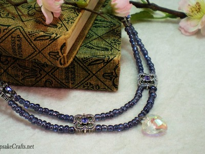 How To Make Pretty Purple Double Strand Scallops Necklace