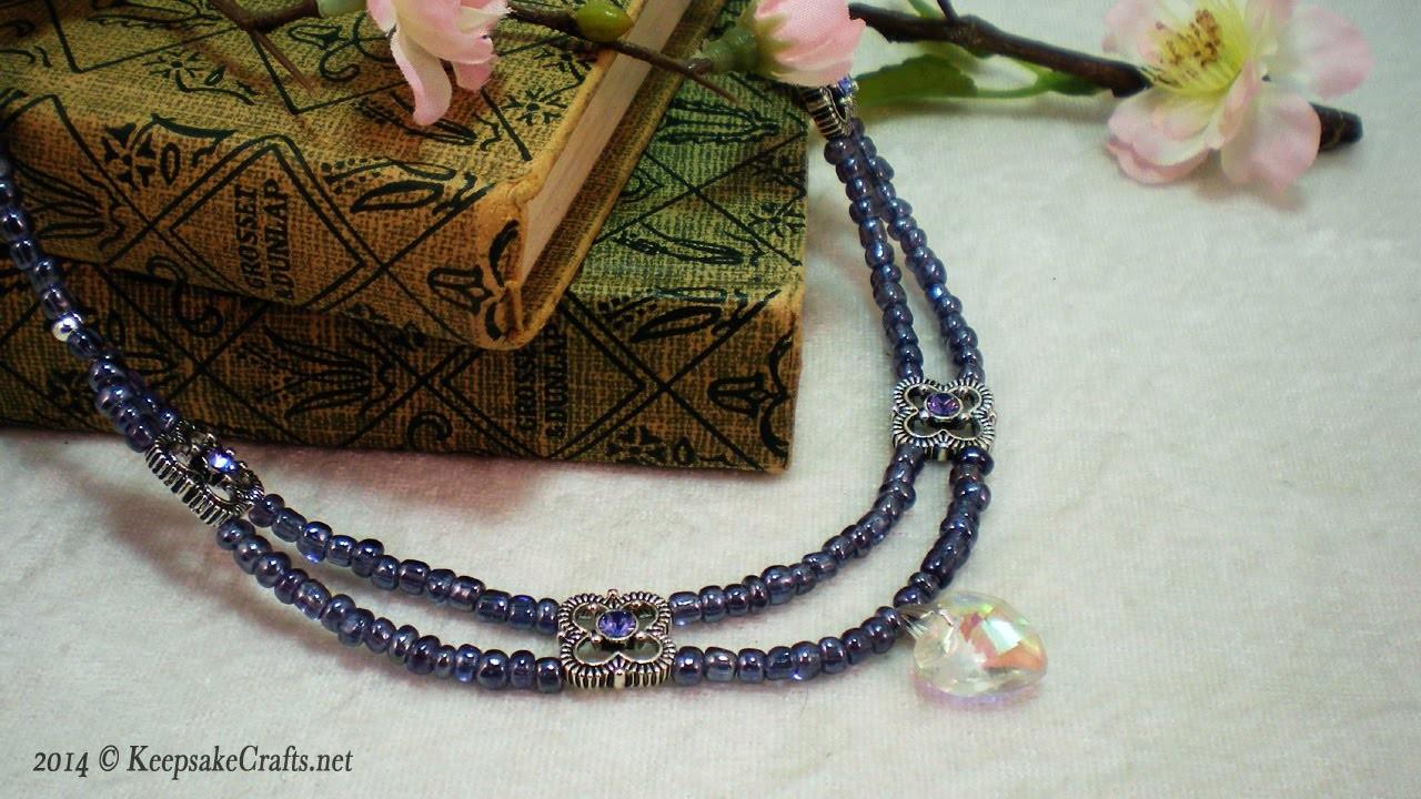 How To Make Pretty Purple Double Strand Scallops Necklace