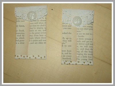 How to make tag pockets from book pages. Mixed Media Arts. DIY Book Page Pockets