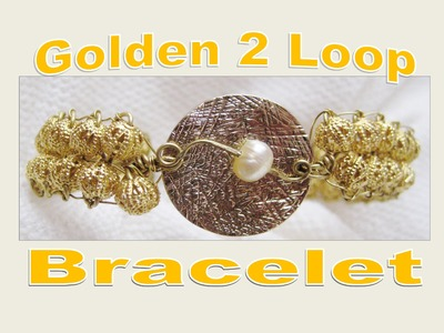 Wire Wrapped Bracelet | Golden 2 Loop with Pearl Accent | Liz Kreate