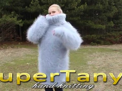 22.02.2013 Light grey hand knitted very soft and fuzzy mohair T-neck sweater by SuperTanya