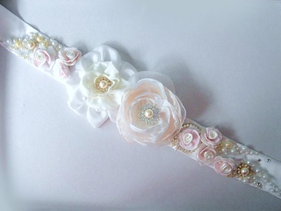 Bridal wedding accessories belts with flowers jewels beads. Ameynra Fashion