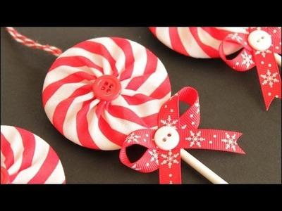 Fabric Yo-Yo Lollipop Christmas Ornaments