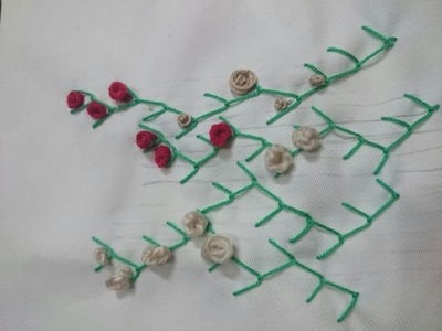 Hand Embroidery Stitches : Feather Stitch & Knot Stitch - Tutorial .