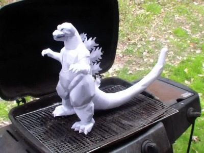 No template, just me showing off, Godzilla papercraft burning