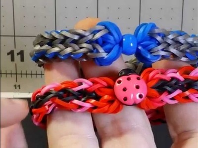 Rainbow Loom Bow and Chain bracelet. Buttons or Beads.