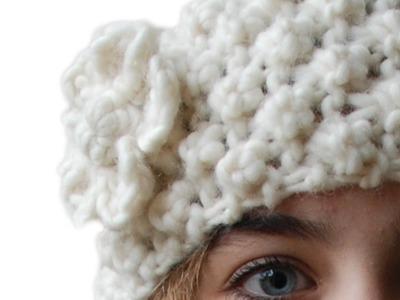 TRINITY STITCH HEAD BAND OR EAR WARMER WITH CROCHETED FLOWER