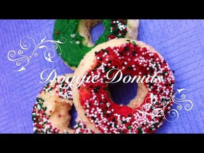 Xmas Sprinkle Frosted Doggie Donuts - DIY Dog Food - a tutorial by Cooking For Dogs