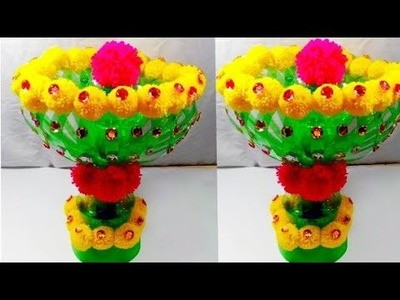 DIY.NEW DESIGN WOOLEN GULDASTA.PlASTIC BOTTLE FLOWER POT.GULDASTA.NEW CRAFT.FLOWER VASE