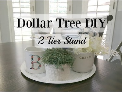 DOLLAR TREE DIY | FARMHOUSE STYLE | 2 TIER STAND