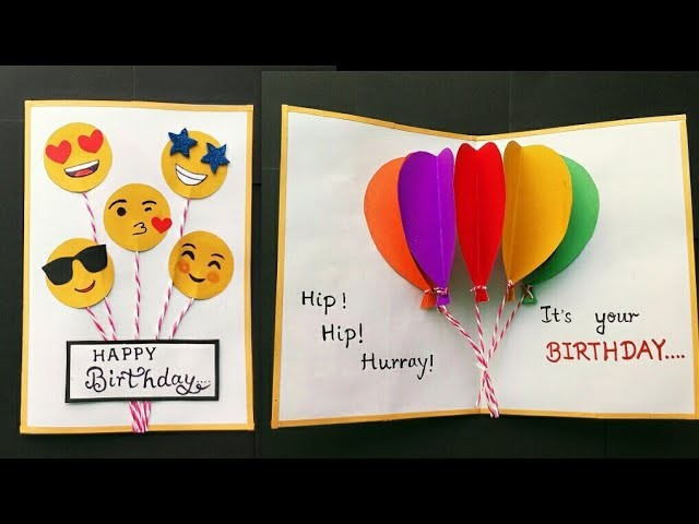 Handmade Birthday Card Birthday Balloon Pop Up Card Birthday