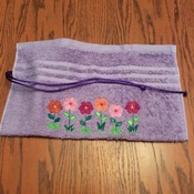 Travel Tote, Travel Roll, Toiletry Holder, Toothbrush/Toothpaste Holder - Embroidered Country Flowers - Handmade