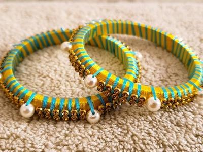 DIY || How to make silk thread bangle at home || Double colour silk thread bangle