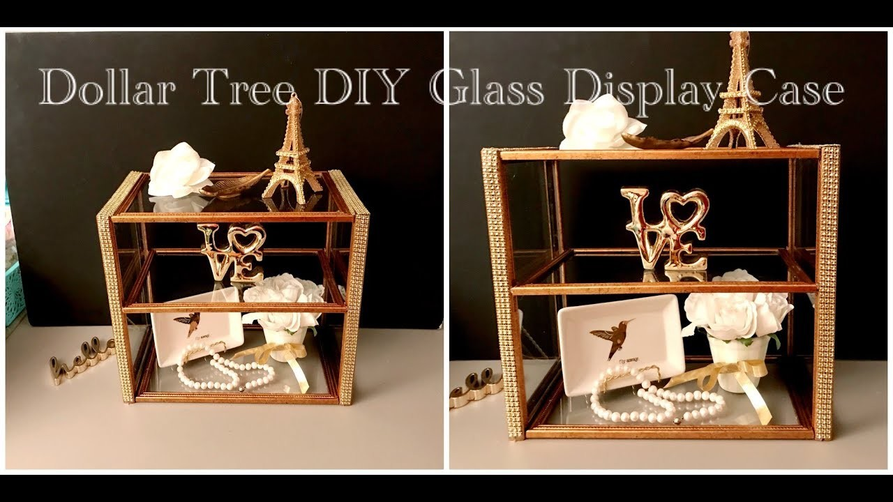 DOLLAR TREE DIY Glam Glass Display Case for Jewelry, Make up, Perfume Bottles, and Knick knacks