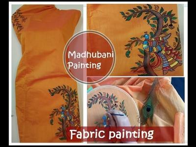 Fabric painting. madhubani painting. simple painting on fabric. tutorial