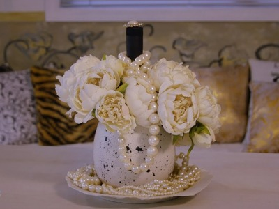 Gift Wrapping and Floristry Tutorial: An Idea for Wine, Flowers and Pearls
