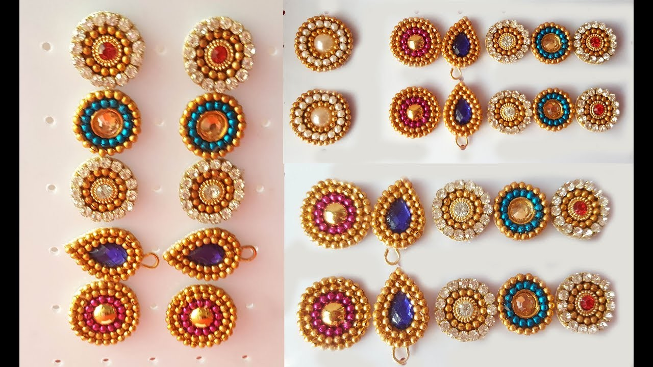 Making of Earring Studs.Patches for Beginners at home Tutorial