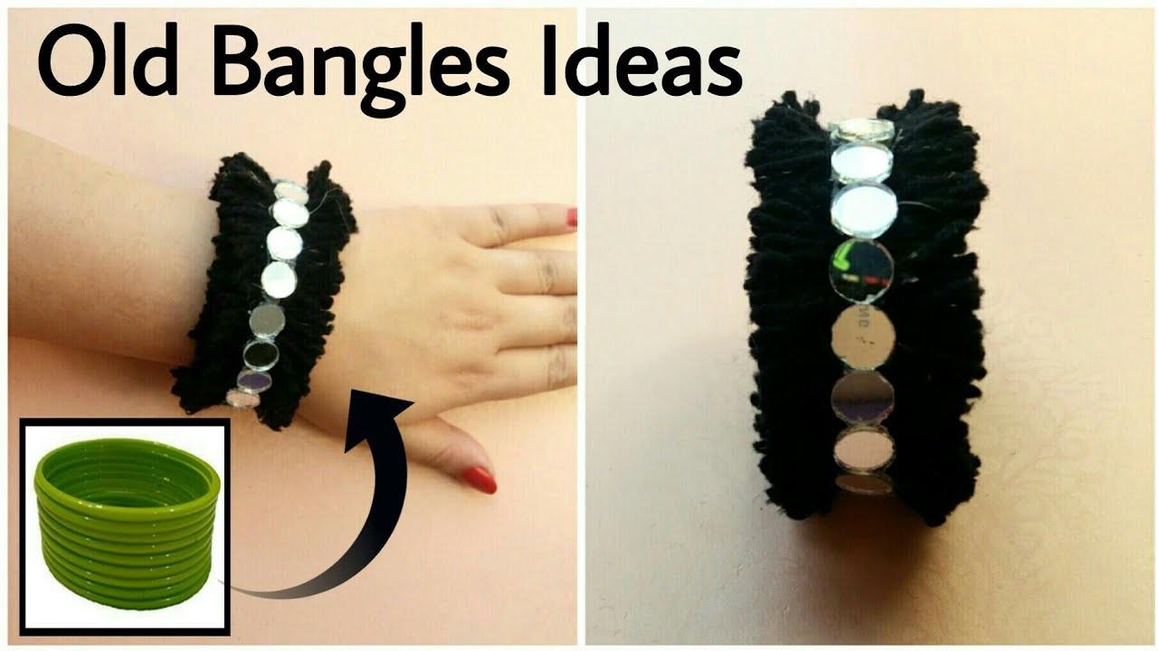 Reuse Old Bangles || DIY Bangles || Yarn & Mirrors Accessories || The Blue Sea Art