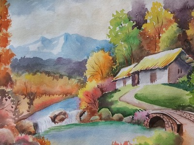 Watercolour Painting of a Landscape on handmade paper