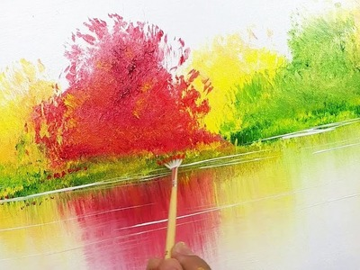 Autumn Trees. Landscape. Demo 127. Leaves on the Water. Abstract Art. Painting Techniques