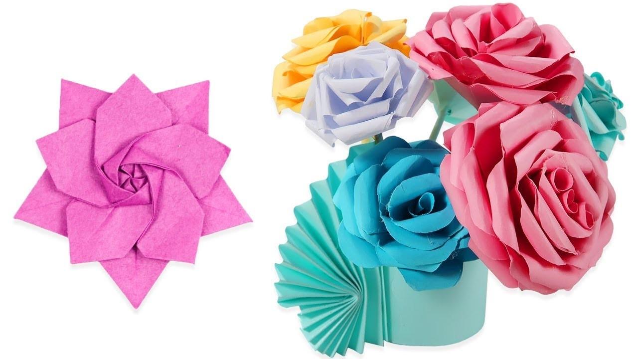 Best Paper Crafts Easy Paper Flowers Diy Flower Vases 5 Minute