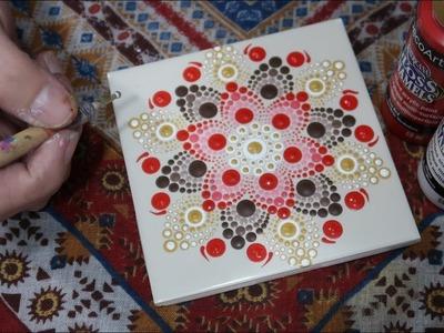 Ceramic Tile Dot Mandala Coasters | How To Paint Dot Mandalas #52 Lydia May -Dotty Mandolly