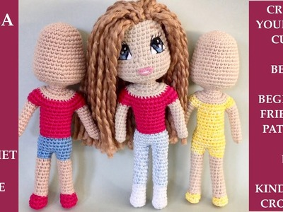 Crochet Amigurumi Doll Bella. No - Sewing Pattern, Beginner Friendly, One Piece Doll (Part 3)