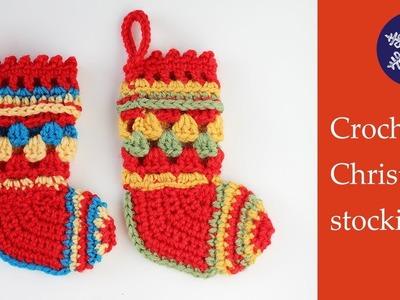 Crochet mini Christmas stocking decoration tutorial