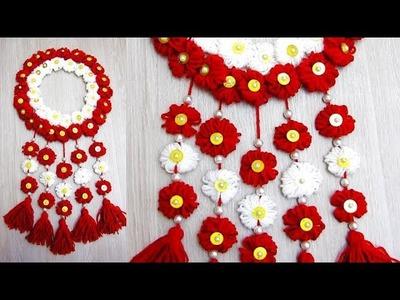 Diwali Special Woolen Door Hanging Making At Home | Wall Hanging Toran Making Craft At Home | 6