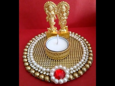 DIY CD Laxmi Ganesh Holder, Diwali Decoration Idea using CD, How to make CD Candle Holder