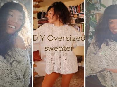DIY Crochet Oversized Sweater.Crochet off shoulder sweater tutorial #3rdVlog