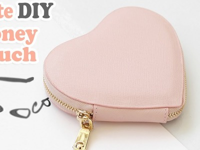 DIY HEART PURSE BAG. PU Lather Zipper Money Pouch & Credit Card Holder No Sew
