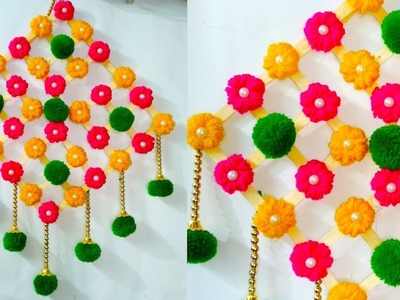 DIY ICE CREAM STICKS & WOOL FLOWER WALL HANGING TORAN FOR ROOM AND HOME DECORATION