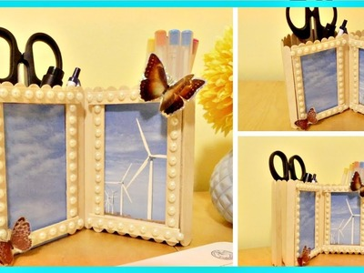 DIY Pen Holder with Photo Frame Out of Popsicle Sticks (Simple & Easy)