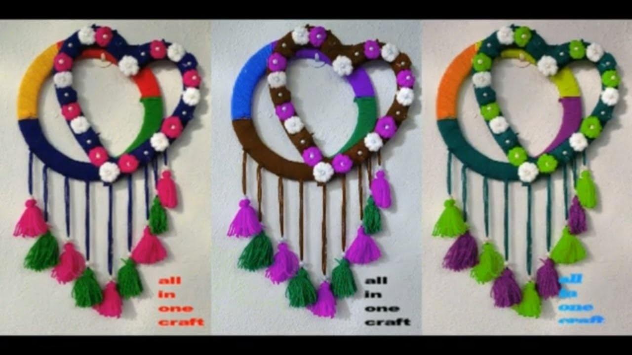 Diy Wall Decoration Craft Toran Making Woolen Flower Craft Making Ideas