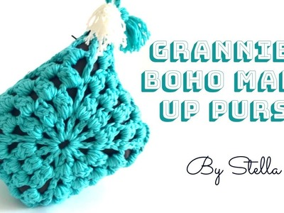 """Easy Crochet """" Grannies Boho """" make up bag.How to crochet an easy make up purse 
