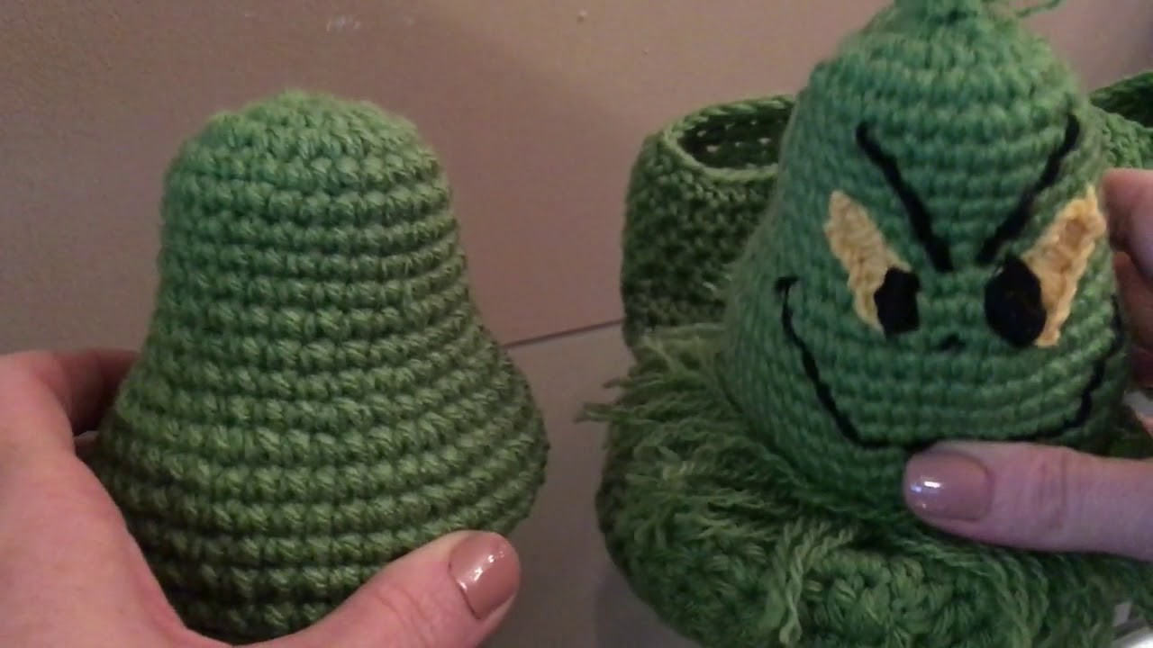 Grinch inspired slippers video 2 of 2 (how to crochet the grinch head)