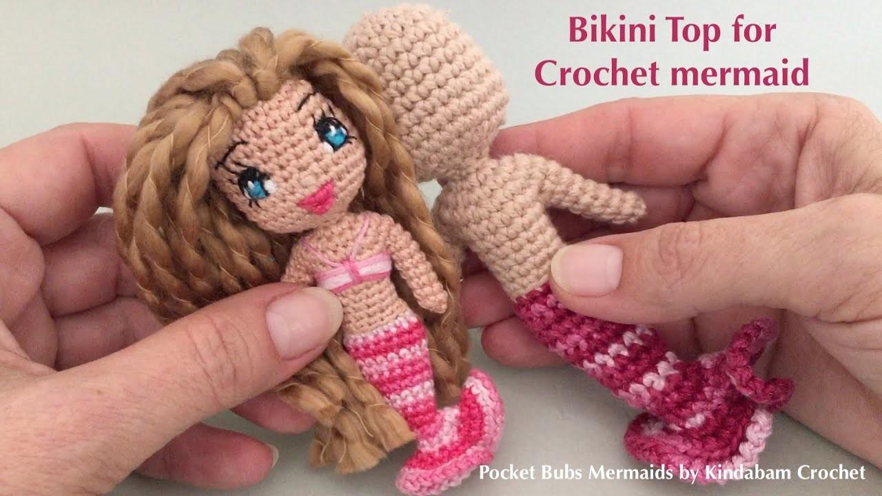 How to Create a Bikini Top for Amigurumi Crochet Doll Mermaid  (Part 2)