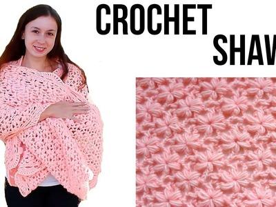 How to crochet a flower shawl. Free tutorial. pattern. Easy Crochet